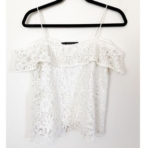 Zara White Off the Shoulder Floral Cut-out Top